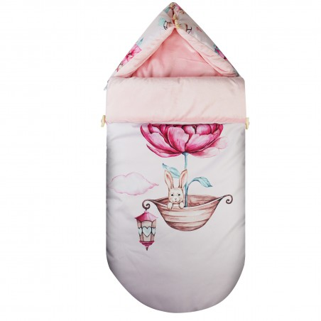 """Stroller sleeping bag 100x48cm """"Clouds for girls"""" RABBIT IN THE SHELL"""