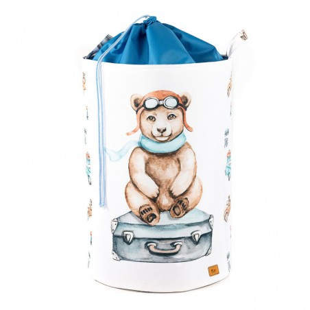Toy Bin large with STRAIGHTENER Teddy bear on a suitcase