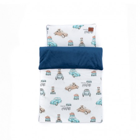 """S"""" duvet and pillow set for carrycot / moses basket """"Time for adventure"""" 75x50"""