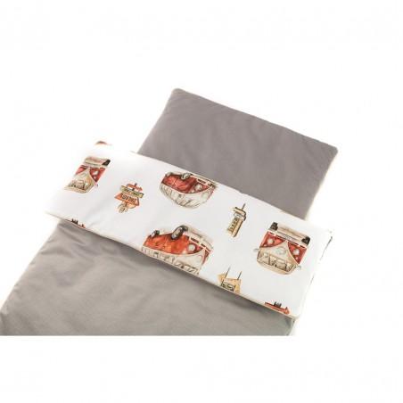 komplet do łóżeczka 120x60 kwiaty szare