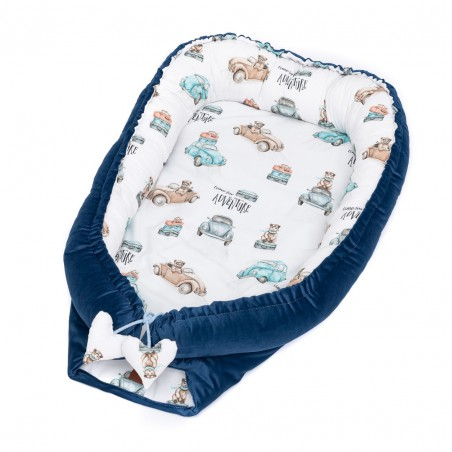 Cocoon for newborn baby Time for Adventure with navy blue