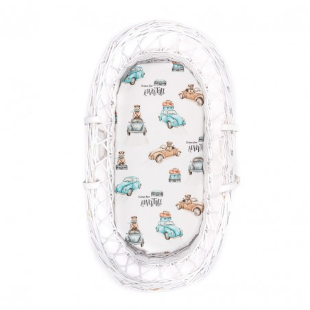Bed sheet for Moses basket, carrycot Time for adventure 80x35cm