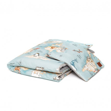 """Set """"L"""" quilt and cot pillow """"Animal Map"""" /120 x 90cm/"""