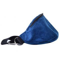 Velour navy blue leather...