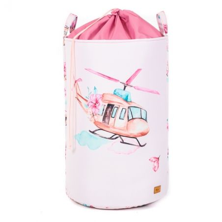 """Helicopter toy basket with welt 60x40cm """"Clouds for girls"""""""