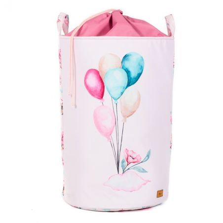 """Balloons toy basket with welt 60x40cm """"Clouds for girls"""""""